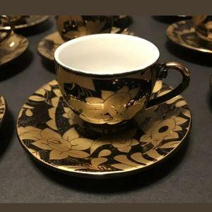 Queen Black & Gold Set Of 12 Espresso Cup&Saucers